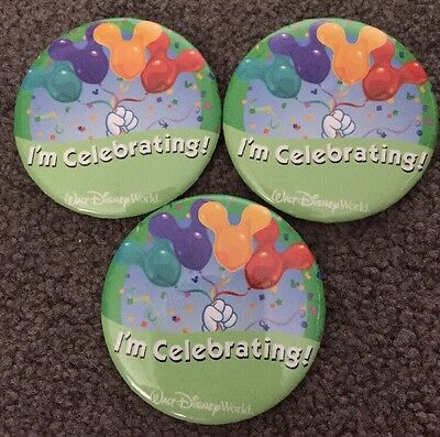 """Lot Of 3 Walt Disney World """"I'm Celebrating"""" button pins Mickey Mouse Balloons"""