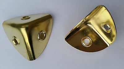 4 new BRASS PLATED CASE CORNER BRACKETS LARGE 28mm