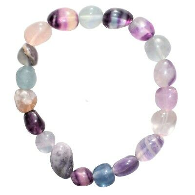 CHARGED Rainbow Fluorite Crystal Bracelet Tumble Polished Stretchy REIKI v2