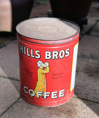 Vintage Hills Bros Coffee Large Red Can Brand Coffee Tin RARE TIN CAN