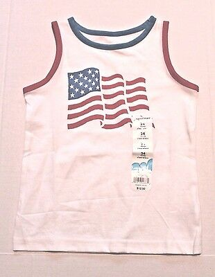 Jumping Beans 4th of July USA Flag Tank Top Shirt Infant Baby Boy 24 Months NEW
