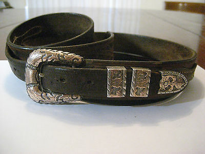 Western Sterling 10k Gold Buckle & Strap Mexico c1930s