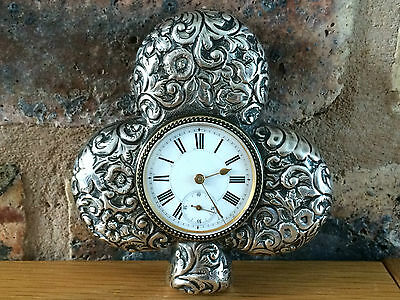 Antique Victorian 1899 Silver Three Leaf Clover Table Clock by Douglas Clock Co