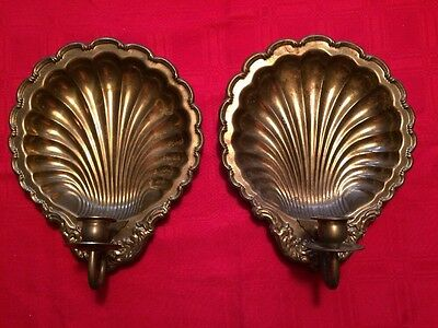 2 Unique Vintage Brass Wall Sconce Pair Shell Design Candlestick Holders