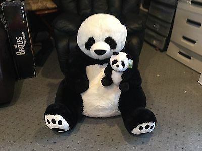 "Huge PANDA BEAR/BABY 48"" HugFun Plush Giant Life Size Floppy Large  Beige New!"