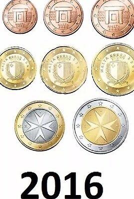 Malta Euro Coins Set 2016 Comple 1cent To 2 Euro New BUNC From Rolls KMS