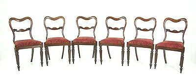 B607 6 Antique Regency Dining Chairs with Carved Backs and Liftout Seats