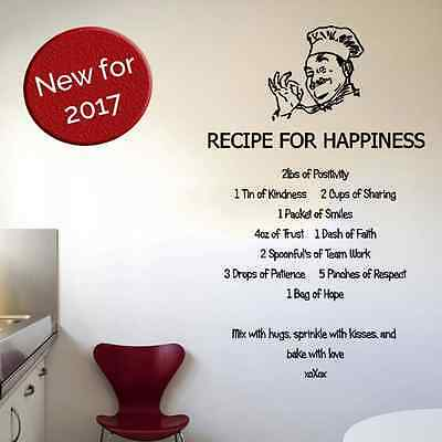 Recipe for happiness kitchen wall sticker love inspiration quote art mural decal