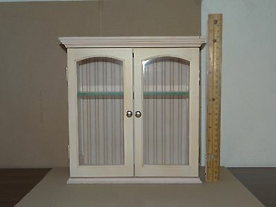 """Glass & Wood Box Miniatures Display Wooden Cabinet 10-1/2"""" Tall"""