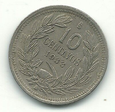 A High Grade Xf 1933 S Chile 10 Centavos Coin-Defiant Condor On Rock-Dec847