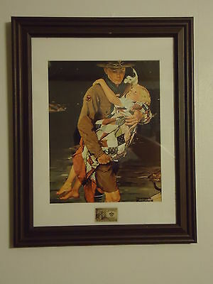 Boy Scout Norman Rockwell Print with Vintage Postage Scout Stamp Framed