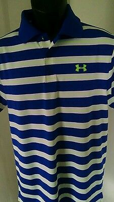 Under Armour Heat Gear Polo Shirt Mens S Blue Striped Short Sleeve Polyester