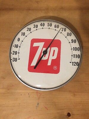 """Vintage 7UP  12"""" Round Thermometer 7 UP Soda Pop 7-UP"""