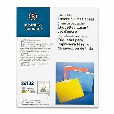 Business Source File Folder Labels - Pack of 1500 - White