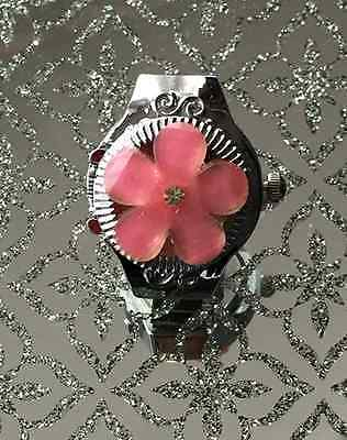 Adjustable Stretch Silver Effect Resin Pink Quartz Finger Ring Watch Women Kids