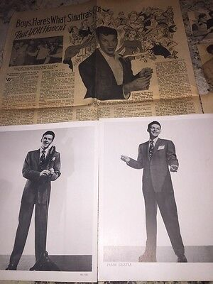 22 Piece Lot Of Frank Sinatra Photos, Newspapers & Clipped Articles