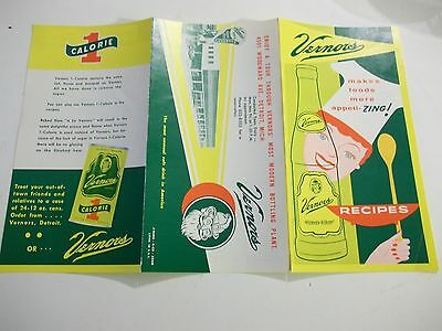 VERNORS Ginger Ale 1965 RECIPE Menu FOLDER NOS Hot Cold Woodward Ave GNOME 100yr