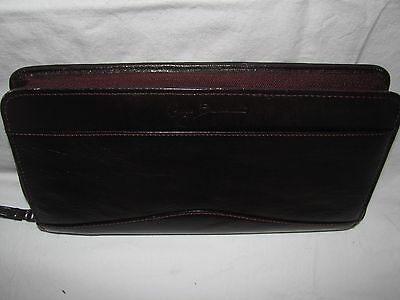 Giorgio Bernini Leather Briefcase passport id card holder Burgundy Dust Cover