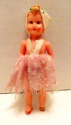 "Vintage Miniature Celluloid? Plastic Doll 2 3/4"" Tall Sleep Eyes Made In Italy"