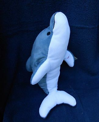 """Toy Dolphin GLIDE TY Grey White Soft 15"""" Pillow Pal Plush 1997 All Ages Collecti"""