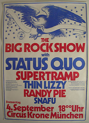 Status Quo Thin Lizzy Supertramp Concert Tour Poster 1975