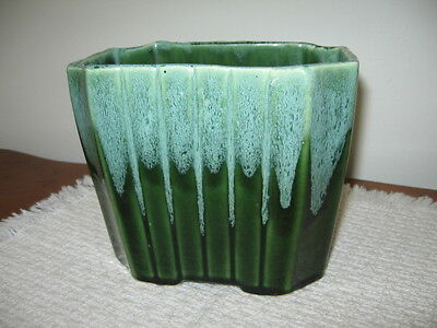 """Vintage Ungemach Pottery UPCO USA 038 Green Agate Drip Planter 5.5"""" Tall Vase"""