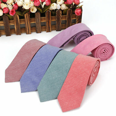9 Colors Mens Cotton Neck Ties 6 CM Solid Plain Skinny Necktie Wedding Party Tie