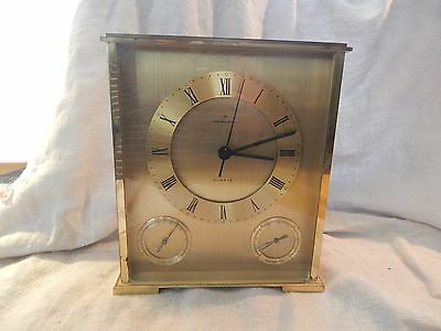 Vintage Hamilton Gold Tone Mantel Clock with Thermometer and Barometer Battery