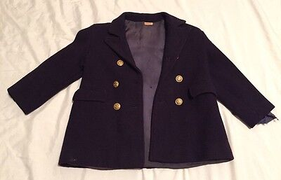 Vintage Antique Toddler Child Navy Dress Coat Jacket Button Up Lined Cosplay