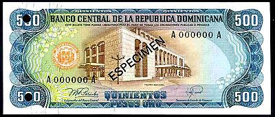 Dominican Republic. 500 Pesos, A000000A, Specimen, 1978, Almost Uncirculated.