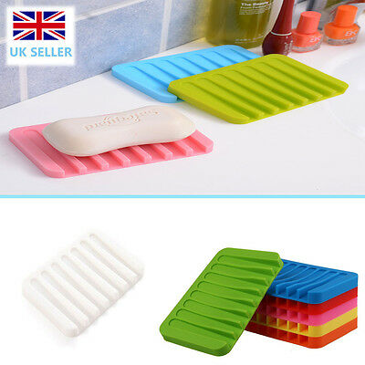Silicone Home Bathroom Toilet Flexible Soap Dish Plate Holder Tray Soapbox