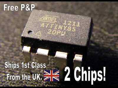 UK Seller: 2 x GENUINE ATMEL ATTINY85-20PU AVR MCUs 8 pin DIP