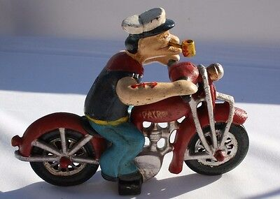 Vintage Cast Iron Popeye The Sailor Man On Harley Motorcycle