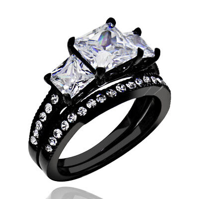 1.9 Ct Princess Cut AAA CZ Black Stainless Steel Wedding Ring Band Set Women's