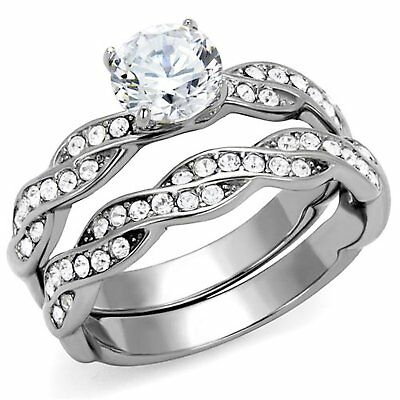 1.03 Ct Round Cut AAA CZ Stainless Steel Wedding Ring Band Set Women's size 5-10