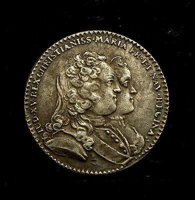 French medal ,King Lui XV and Queen Marie, born son - 1730 - pls see descripti