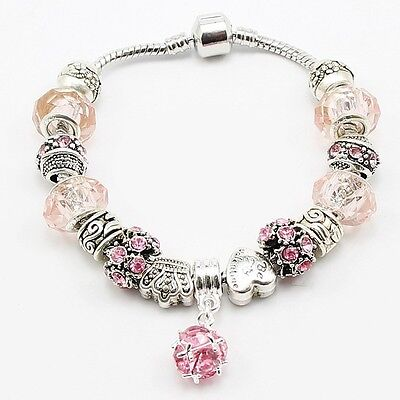 925 Silver Snake Chain Charm Bracelet. Pink Murano Glass Beads and Charms