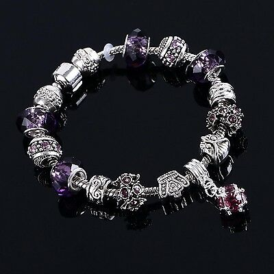925 Silver Snake Chain Charm Bracelet. Purple Murano Glass Beads and Charms
