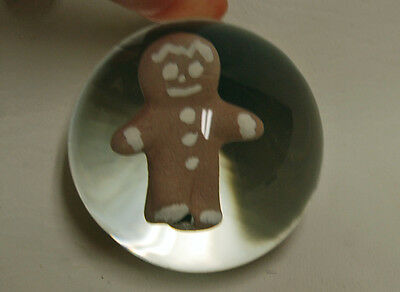 Rare Gibson Sulfide Glass Paperweight Marble Ginger Bread Man Cookie