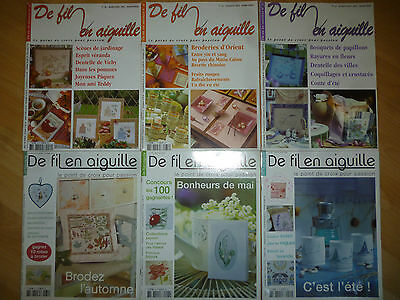 Lot magazines De Fil en Aiguille 30 31 32 39 43 44  Point croix - MT Saint-Aubin