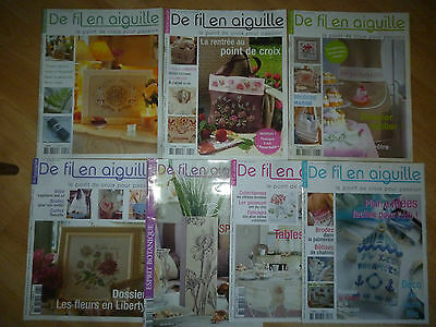 Lot magazines De Fil en Aiguille 47 51 56 61 62 63 64 - Point croix - Enginger