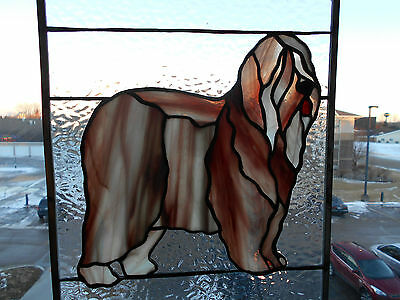 "An Old English Sheep Dog Stained Glass Panel 11"" By 14""  New  Handcrafted"