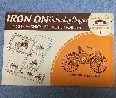 Superior Embroidery Transfers Iron On old-fashioned automobiles Vintage Designs