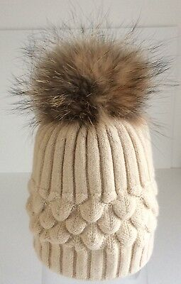 Luxury real fur bobble hat,cashmere mix, fully lined UK SELLER  cream.