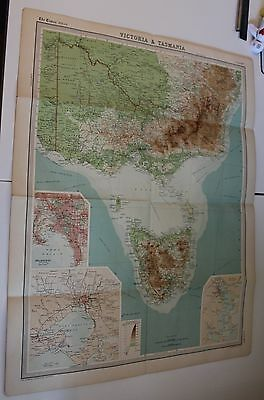Large1920's  Map of Victoria & Tasmania Times Atlas Bartholomew Folded Original