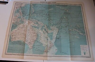 Large 1920's Map of South Pacific Ocean Times Atlas Bartholomew Folded Original