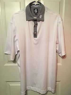 PGA - Foot Joy  - White Polo Golf Shirt - Size Large