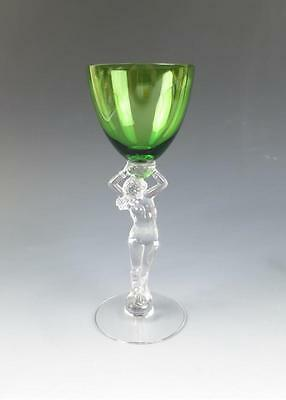 Vintage CAMBRIDGE STATUESQUE CLARET Wine Green 3011 Nude Stem Elegant Glass