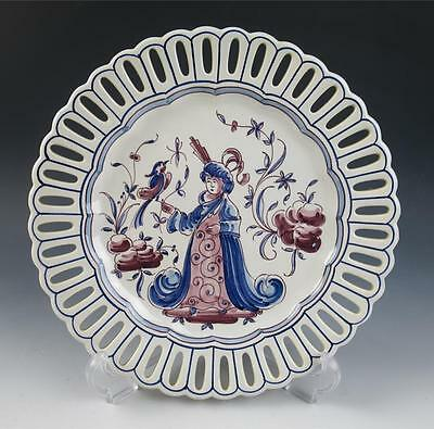 Vintage PORTUGAL Hand Painted Charger Plate Pottery Chinoiserie Delft Faience