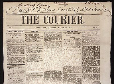 VERY RARE 1844 ABRAHAM LINCOLN Charleston IL Courier EARLY ILLINOIS NEWSPAPER